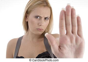 megállítás, mérges woman, kiállítás, gesztus