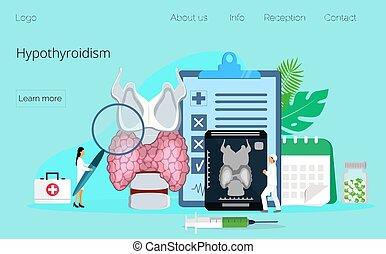 megállapít, pajzsmirigy, fogalom, vector., endocrinologists, mirigy, hypothyroidism, kezel, emberi