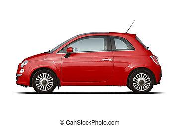 megállapodás, piros, háromajtós kiskocsi