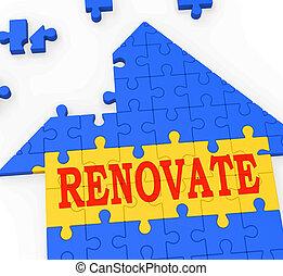 megújít, épület, megjavít, készít, erőforrások