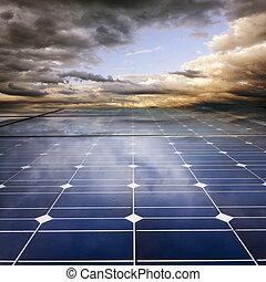 megújítható, nap- nagy, használ, energia, berendezés