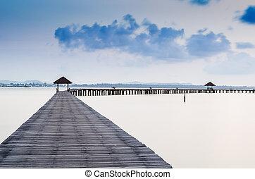 megüresedések, és, idegenforgalom, concept., tropikus, paradise., móló