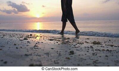 megüresedések, indítvány, gyalogló, nyár, homok, concepts., ...