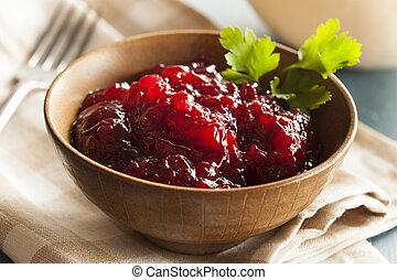 megőriz, szerves, szósz, lingonberry