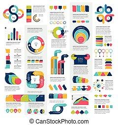 mega, セット, の, infographics, 要素, チャート, グラフ, 円, チャート, 図, スピーチ,...