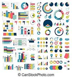 mega, 彙整, ......的, 圖表, 圖, flowcharts, 圖表, 以及, infographics, elements., infographics, 在, 藍色, color.