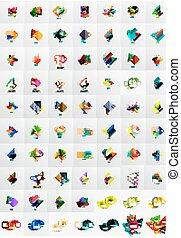 mega, 旗, コレクション, テンプレート, ペーパー, layouts., graphics., 幾何学的