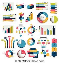 mega, 集合, ......的, 事務, 3d, 設計, 圖, 圖表, 模板, schemes., colummn, 立方, 環繞, design., infographics.