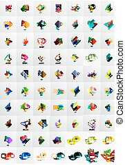 mega, banieren, verzameling, voorbeelden, papier, layouts., graphics., geometrisch