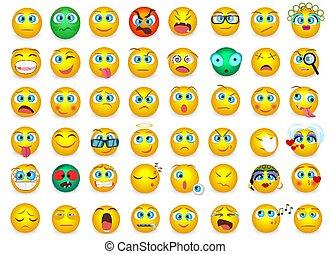 Mega big collection set of Emoji face emotion icons isolated. Vector illustration.