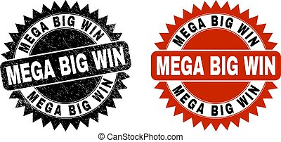 Black rosette MEGA BIG WIN seal stamp. Flat vector textured stamp with MEGA BIG WIN text inside sharp rosette, and original clean version. Imprint with scratched surface.