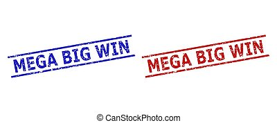 Blue and red MEGA BIG WIN watermarks on a white background. Flat vector grunge watermarks with MEGA BIG WIN message inside parallel lines. Watermarks with scratched texture.