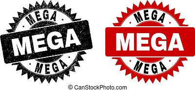 Black rosette MEGA stamp. Flat vector grunge watermark with MEGA caption inside sharp rosette, and original clean version. Watermark with grunged style.