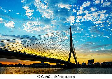 Mega bridge in Bangkok, Thailand (Rama 8 Bridge)