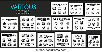 Mega collection of black web icons - money, business,...