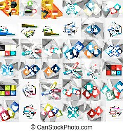 Mega collection of geometric paper style banners. Vector...