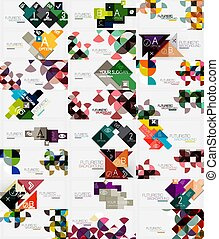 Mega collection of round triangle and square pattern backgrounds, business geometric templates for presentation, web banner or print template