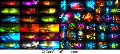 Mega collection of vector glowing effect abstract backgrounds - shiny lines, waves, geometric forms in the dark with glow effect. Business presentation design templates, web brochure or web flyer concepts