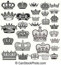 mega, conjunto, de, mano, dibujado, coronas, en, vendimia,...