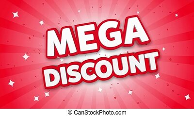 Mega Discount 3D Text on Red Sparkling Falling Confetti Background. ad, Promotion, Discount Offer Sale Loop Animation.