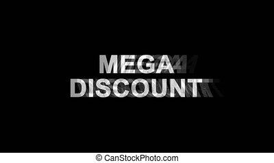 Mega Discount Glitch Effect Text Digital TV Distortion 4K...