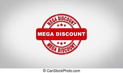 Mega Discount Signed Stamping Text Wooden Stamp Animation. Red Ink on Clean White Paper Surface Background with Green matte Background Included.
