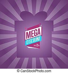 Mega discount sticker on box silhouette
