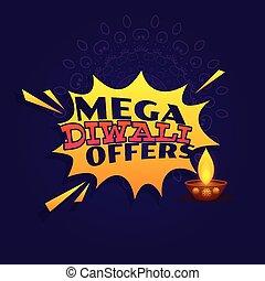 mega diwali festival offer sale banner vector design