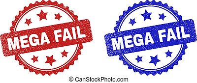 Rosette MEGA FAIL seal stamps. Flat vector textured seal stamps with MEGA FAIL caption inside rosette shape with stars, in blue and red color versions. Watermarks with unclean style.