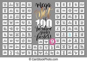 mega, jogo, de, 100, mão, lettering, positivo, citação, cartazes