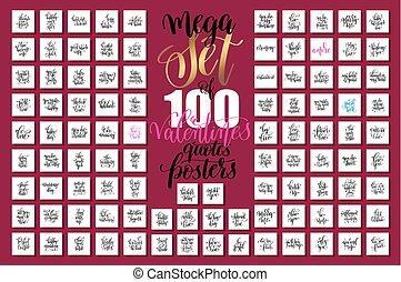 mega, jogo, de, 100, mão, lettering, valentines, e, casório,...