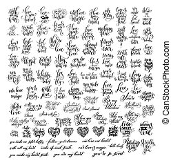 mega, jogo, de, 100, preto branco, mão escrita, lettering, aproximadamente, lov
