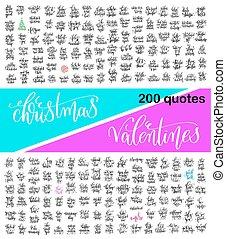 mega, jogo, de, 200, mão, lettering, caligrafia, citação, aproximadamente, christma