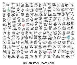 mega, jogo, de, 200, mão, lettering, caligrafia, citação