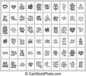 mega, jogo, de, 60, mão escrita, lettering, positivo,...