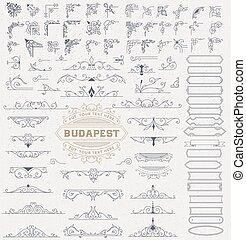 Mega Kit of Vintage Elements for Invitations, Banners, Posters, Placards, Badges or Logotypes.
