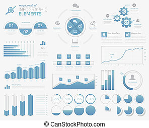 mega, meute, de, infographic, éléments