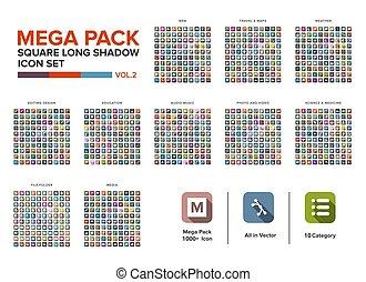 Mega Pack square Icon set bundle long shadow vol.2. Icon set collection
