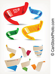mega, sätta, origami, färgrik