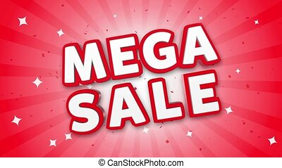 Mega Sale 3D Text on Falling Confetti Background. - Mega...