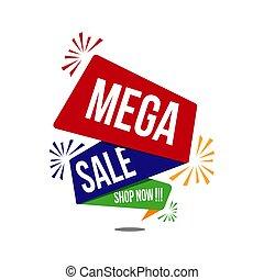 Mega sale banner. poster big sale special offer discounts Vector illustration.