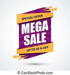 Mega sale banner. Special offer concept. Discount template. Vector illustration