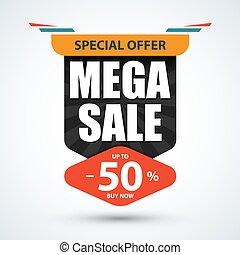 Mega Sale banner. Special offer design. Discount, 50% off template. Vector illustration.