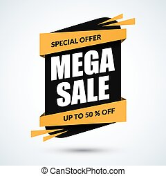Mega sale banner. Special offer template. Discount label. Up to 50 percent off concept. Half price colorful sticker. Vector illustration