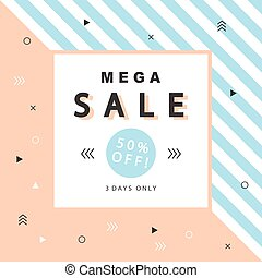 Mega Sale banner with geometric shapes in scandinavian trendy style