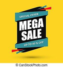 Mega sale design. Special offer concept. Discount template. Vector illustration