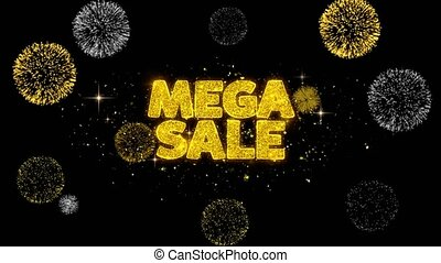 Mega Sale Golden Text Blinking Particles with Golden...