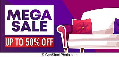 Mega sale home furniture shop vector banner