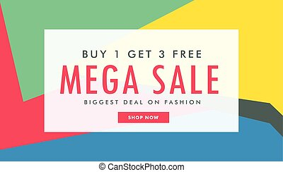 mega sale marketing banner template with abstract colorful shapes