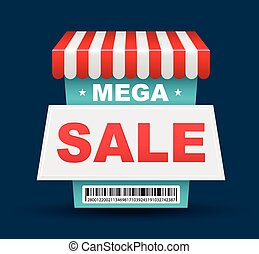 Mega Sale shop banner design with barcode. Vector...